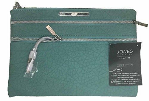 jones-new-york-signature-phone-charging-pouch-clutch-purse-turquoise-textured