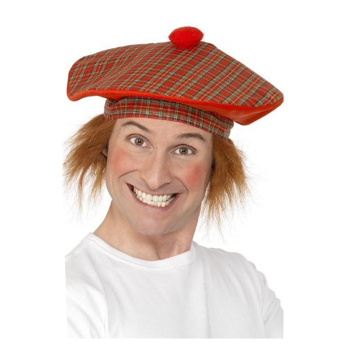 Smiffy's Men's Tam-O-Shanter with Hair Deluxe, Multi, One Size