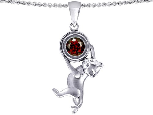1.50 cttw 14k White Gold Plated 925 Sterling Silver Cat Lover Pendant with January Birthstone Genuine Garnet