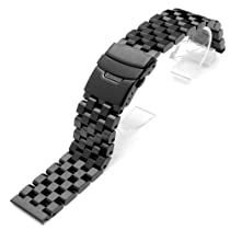 24mm SUPER Engineer Type II Solid Stainless Steel Straight End Watch Band-Push Button