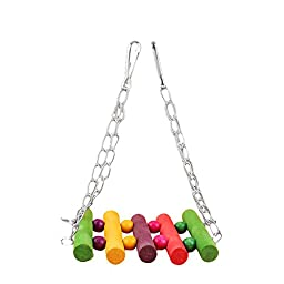 Yosoo Flexible Pet Bird Hamster Toys Parrot Swing Colorful Wood Parrot Cage Toys Hanging Toys for Parrot Bird Swings for Parrots Budgie Toys Pet Parakeet Budgie Cockatiel Cage Hanging Hammock Toys