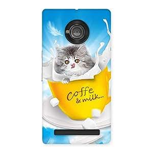 Impressive Kitty Coffee Multicolor Back Case Cover for Yu Yunique