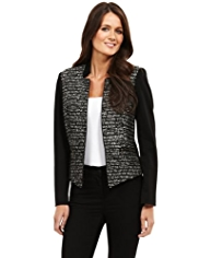 M&S Collection Open Front Notched Tweed Jacket with Wool