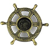 Handcrafted Decor K 0448 Gold Antique Gold Cast Iron Ship Wheel Decorative Tealight Holder, 5.5 In.