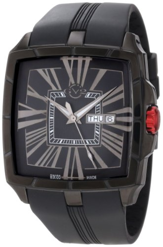 GV2 by Gevril Men's 9000 Fiamme Square Black IP Coated Case Sapphire Crystal Black Dial Day-Date Rubber Watch