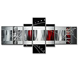 Neron Art - Red Fantasy Abstract Oil Paintings Set of 5 Panels on Gallery Wrapped Canvas overall 60X26 inch