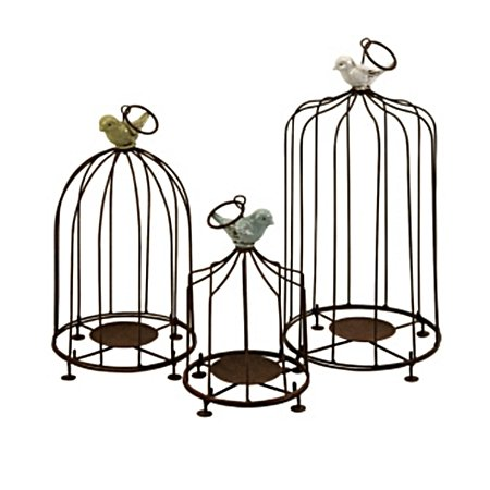 Set of 3 Decorative Louise Iron Birdcage Pillar Candle Holders with Birds