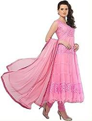 Pink Anarkali Semistitched Dress Material
