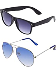 SHEOMY COMBO OF STYLISH SILVER BLUE AVIATOR GOGGLES AND BLACK BLUE WAYFARER SUNGLASSES WITH 2 BOX - Free Delivery