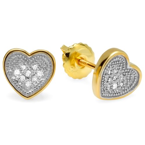 0.10 Carat (ctw) 18K Yellow Gold Plated Sterling Silver Round Diamond 6.5 mm Heart Shape Mens Hip Hop Iced Stud Earrings
