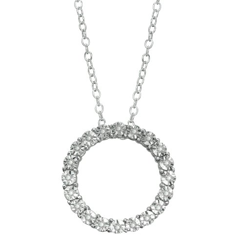 Sterling Silver Diamond-Accent Circle Pendant by DiAura