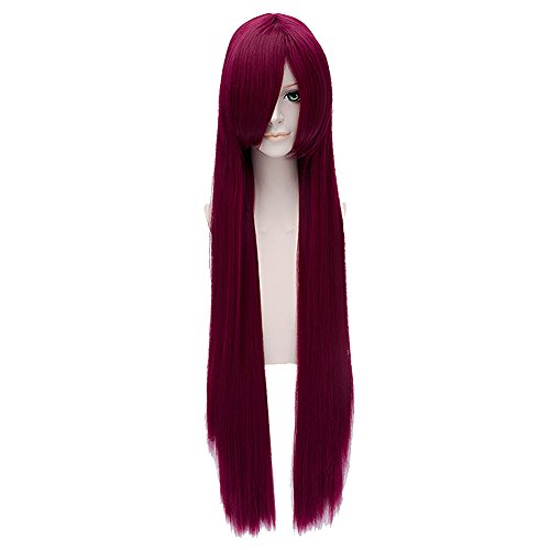 [Anime Long Straight Red Makise Kurisu Cosplay Costume Party Wigs+free Wig Cap] (Kurisu Makise Cosplay Costume)