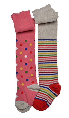 2-pairs-of-Girls-tights-Spots-Stripes-Cotton-tights