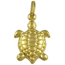 14K Yellow Gold Turtle 3-Dimenisional Charm Pendant - Longevity