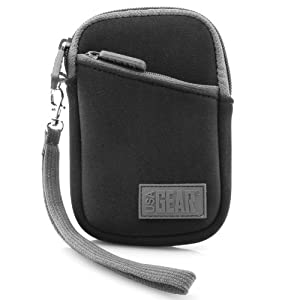 Neoprene Cushion Compact Camera Zipper Pouch with Belt Loop and Carrying Wrist Strap by USA Gear - Works with Canon PowerShot ELPH 350 HS , ELPH 170 IS , ELPH 160 and More Digital Cameras **Includes Card Reader**