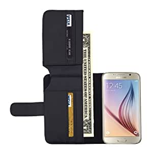 Litchi Texture Leather Case with Seven Card Slots & Wallet for Samsung Galaxy S6(Black)