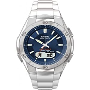 Casio Men's Quartz Watch with Blue Dial Analogue - Digital Display and Silver Stainless Steel Bracelet WVA-M640D-2AER