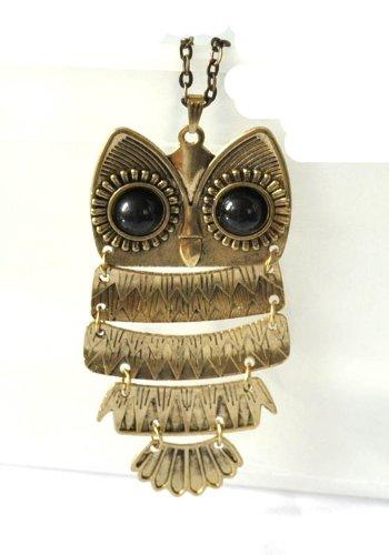 Bronzene lange Halskette im Retro-Stil mit Art-Deco Eulenanhänger,schwarze Augen