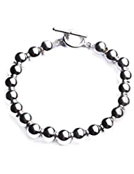Adara Silver 9mm Ball Bracelet of Length 21cm with T Bar