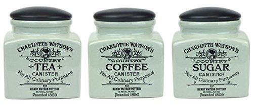 Charlotte Watson Small Square Ceramic Tea, Coffee & Sugar Jars In Celadon Green