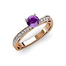 buy Amethyst And Diamond (Si2-I1, G-H) Euro Shank Engagement Ring 0.75 Ct Tw In 14K Rose Gold.Size 5.5