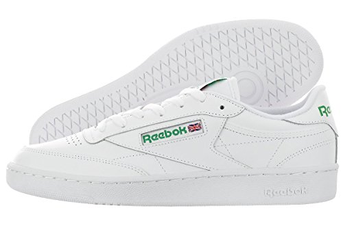 Reebok Men's Club C 85 Fashion Sneaker, Int-White/Green, 9.5 M US (Reebok Leather Classic compare prices)