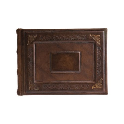 Eccolo Italian Leather Barocco Album In Brown With Gold Foil Detail, 8 x 6-Inch