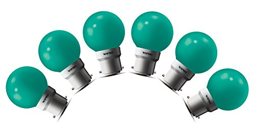 0.5W LED Bulb (Green , pack of 6)