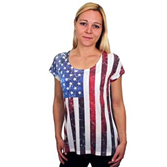 Our women's t-shirts category is ideal for any lady looking for that perfect patriotic wear. Choose between casual tees, such as the Ladies USA Classic T-Shirt, to more fun shirts covered with shimmer and shine, like our Beaded American Flag Shirt.