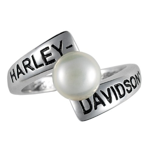Sterling Silver Harley-Davidson Ladies Crossroads Birthstone Ring - June Freshwater Pearl