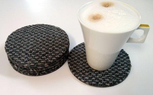 Untersetzer wasserfest aus Teppich Filz rund Textilrücken für Gläser, Tassen oder Vasen grau 12 cm
