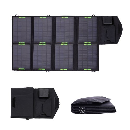 Xdpowers Portable Folding 18V 28W Solar Panel Power Charger Dual Output Battery Charger Backup Pack For Laptops Mini Fan/Mobile Phone/Pda/Mp3/Mp4/Digital Camera/Video Camera/Psp Video Games/ Dvd/ Iphone/Blackberry/Bluetooth Headset