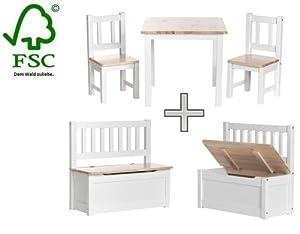 Impag® Kindersitzgruppe  Kindermöbel Sitzgruppe + Kindertruhenbank Kinderbank Truhenbank in Weißlack inkl. Spielzeugkiste Stauraum für die Spielsachen Set : Anni