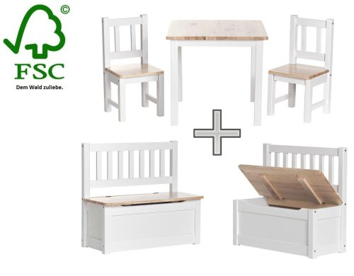 Kids furniture Set - Chair and Table Set for Children + seat bench inkl. Chest - storage space for toys, made of Pinewood Anni