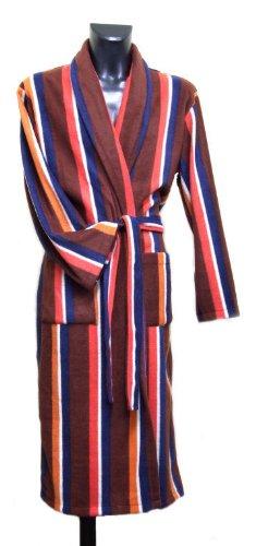 Lloyd Attree & Smith Stripe Dressing Gown - Wine/Red/Blue