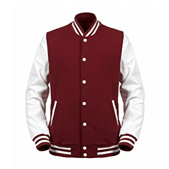 Angel Cola Maroon & White ALL Cotton Varsity Baseball Letterman Jacket (XXS, Maroon & White)