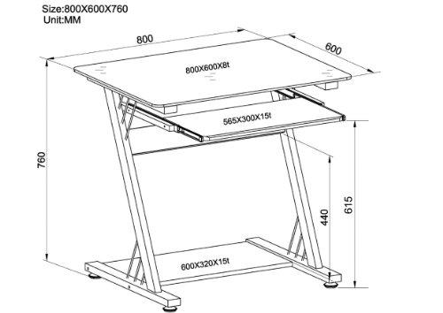 SixBros. Scrivania porta pc vetro nero lucido - CT-3312D/1131