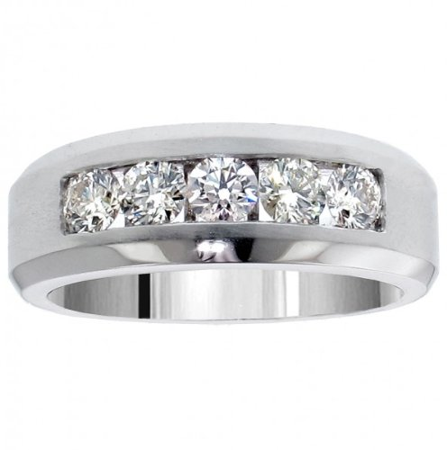 1.10 CT TW 5-Stone Channel Set Diamond Mens Wedding