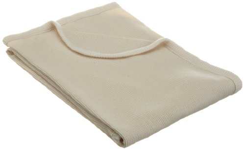 "American Baby Company Full Size 30"" X  40 ""- 100% Organic Cotton Thermal Blanket, Natural"