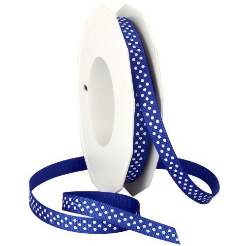 Morex Swiss Dot Grosgrain Ribbon, 3/8-Inch by 20-Yard Spool, Royal