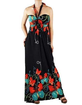 Black Orange Butterfly Tube Halter Maxi Dress M