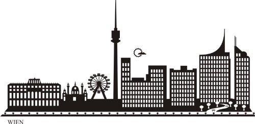 WANDTATTOO e707 Skyline Stadt - Wien (Österreich ) Design 2 - 40x19 cm - schwarz