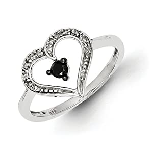 IceCarats Designer Jewelry Size 6 Sterling Silver Black And White Diamond Heart Ring