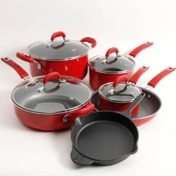 The Pioneer Woman Vintage Speckle 10-Piece Non-Stick Pre-Seasoned Cookware Set, Red Dishwasher Safe (Red Cast Iron Cookware compare prices)