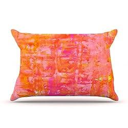 Kess InHouse 36 by 20-Inch CarolLynn Tice Wiggle Pillow Case King Orange