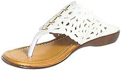 Craze Shop Womens White Artificial Leather Flats - 5 UK