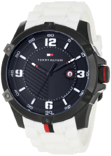 Tommy Hilfiger Men's 1790785 Sport Black Ion-Plating and White Watch