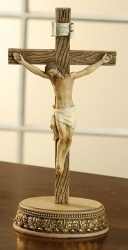 Standing Wooden Wall or Desk Wood Crucifix Cross Jesus Christ Catholic