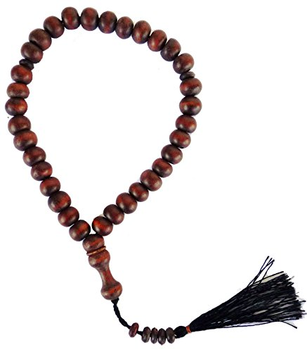 Muslim Prayer Beads Wooden Tasbih Beads (33 Beads) with Decorated Tassels - Dark Brown - 1