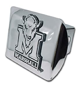 Buy Marshall Thundering Herd Chrome Metal Hitch Cover with Chrome Logo by Elektroplate